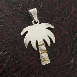 Sterling silver 2 tone palm tree large pendant